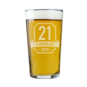 Personalised Big Age & Name Birthday Pint Glass