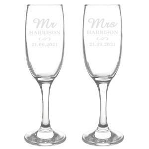 Personalised Mr & Mrs Pair of Flutes