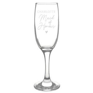 Personalised Maid of Honour Flute Glass