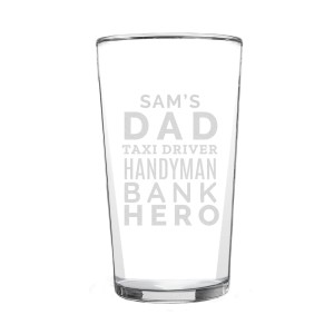 "Personalised ""Dad Jobs"" Pint Glass"