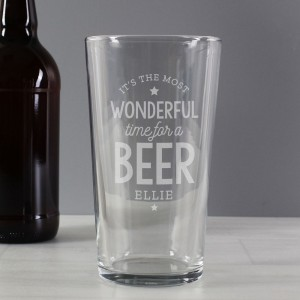 Personalised Wonderful Time For A Beer Pint Glass