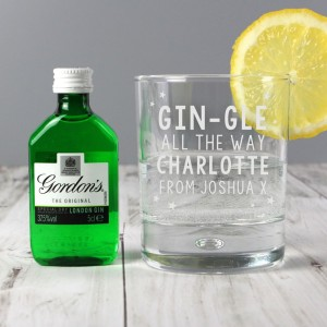 Personalised Gingle Bells Bubble Glass & Gin Minature Set