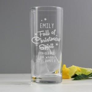 Personalised Full Of Christmas Spirit Hi Ball Glass