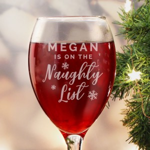 Personalised I'm On The Naughty List Wine Glass