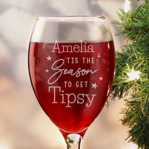 Personalised Tis The Season To Get Tipsy Season Wine Glass