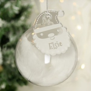 Personalised Christmas White Feather Glass Bauble With Santa Tag