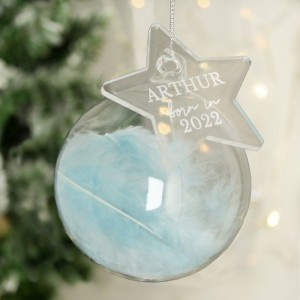 Personalised Born In Blue Feather Glass Bauble With Star Tag