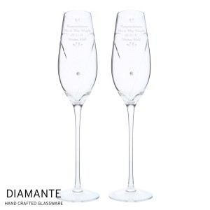 Personalised Hand Cut Little Hearts Pair of Flutes with Swarovski Elements with Gift Box