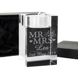 Personalised Mr & Mrs Glass Tea Light Candle Holder