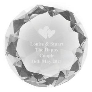Personalised Heart Motif Diamond Paperweight