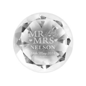 Personalised Mr & Mrs Diamond Paperweight