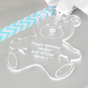 Personalised Acrylic Teddy Bear Decoration
