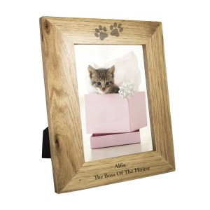Personalised Paw Prints 5x7 Wooden Photo Frame