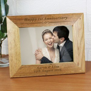 Personalised Formal 7x5 Landscape Wooden Photo Frame