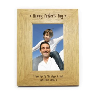 Personalised Oak Finish 6x4 Happy Fathers Day Photo Frame