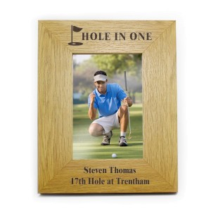 Personalised Oak Finish 4x6 Golf Photo Frame