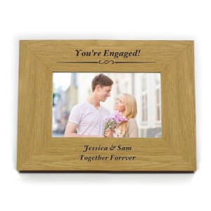 Personalised Formal 6x4 Landscape Oak Finish Photo Frame