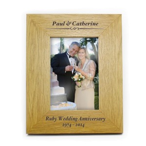 Personalised Formal 6x4 Oak Finish Photo Frame