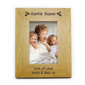 Personalised Hearts 4x6 Oak Finish Photo Frame