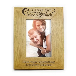 "Personalised ""To the Moon and Back"" 4x6 Oak Finish Photo Frame"