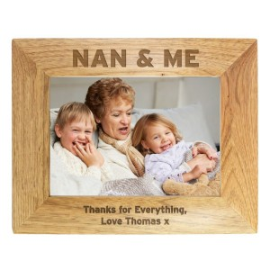 Personalised Nan & Me 7x5 Landscape Wooden Photo Frame