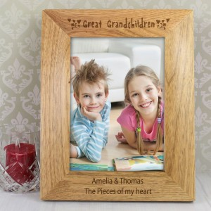 Personalised Great Grandchilden 5x7 Wooden Photo Frame