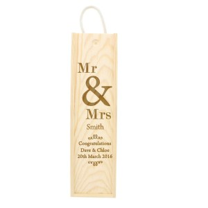 Personalised Couples Wooden Wine Bottle Box