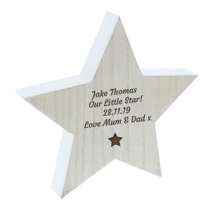 Personalised Star Motif Rustic Wooden Star Decoration