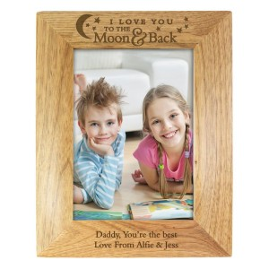 Personalised 5x7 To the Moon and Back... Wooden Photo Frame