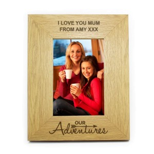 Personalised Oak Finish 6x4 Our Adventures Photo Frame