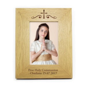 Personalised Religious Swirl 7x5 Wooden Photo Frame