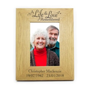 Personalised Life & Love Oak Finish 4x6 Photo Frame