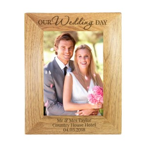 "Personalised ""Our Wedding Day"" Wooden 5x7 Photo Frame"