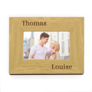 Personalised Couples 6x4 Oak Finish Photo Frame