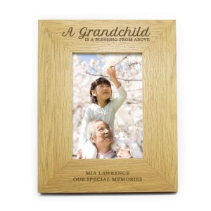 "Personalised Oak Finish 4x6 ""A Grandchild is a Blessing"" Photo Frame"