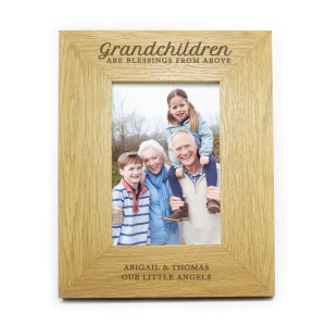 "Personalised Oak Finish ""Grandchildren are a Blessing"" 4x6 Photo Frame"