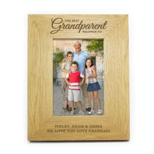 "Personalised ""The Best Grandparent"" 4x6 Oak Finish Photo Frame"
