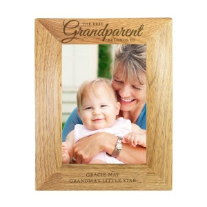 "Personalised ""The Best Grandparent"" 7x5 Wooden Photo Frame"