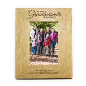 "Personalised Oak Finish ""The Best Grandparents"" 4x6 Photo Frame"