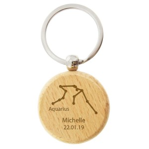 Personalised Aquarius Zodiac Star Sign Wooden Keyring (January 20th - February 18th)