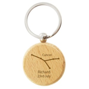 Personalised Cancer Zodiac Star Sign Wooden Keyring (June 21st - July 22nd)