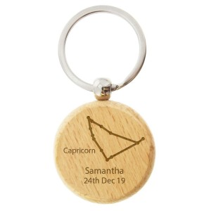 Personalised Capricorn Zodiac Star Sign Wooden Keyring (December 22nd - 19th January)