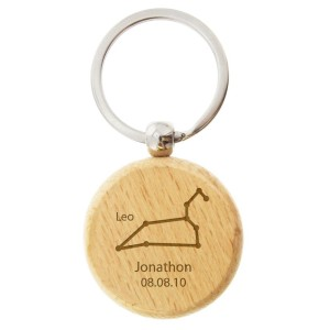 Personalised Leo Zodiac Star Sign Wooden Keyring (July 23rd - August 22nd)