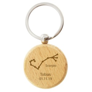 Personalised Scorpio Zodiac Star Sign Wooden Keyring (October 23rd - November 21st)