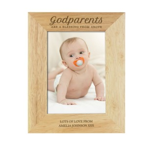 Personalised Godparents 5x7 Wooden Photo Frame