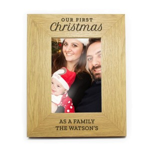"Personalised ""Our First Christmas"" 6x4 Oak Finish Photo Frame"