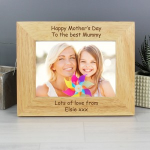 Personalised 7x5 Landscape Wooden Photo Frame