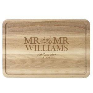 Personalised Mr & Mr Large Chopping Board