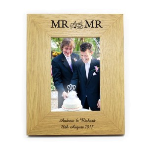 Personalised Oak Finish 6x4 Mr & Mr Photo Frame