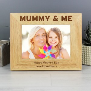 Personalised Mummy & Me 7x5 Landscape Wooden Photo Frame